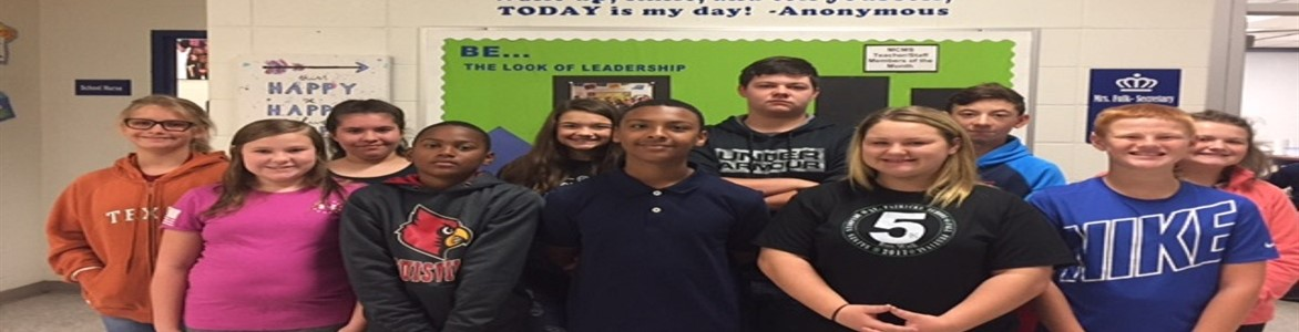 Leaders Of the Month for September 2017.  6th grade students are:  Destiny Dow, Keshawn Thomas, Haley Barbour and Taylor White.  7th grade students are: Lona Hampton, James Mealing, Abby May and Westin Messer.  8th grade students are: Alisha Applegate, Travis Whisner, Alaina Henderson and Calvin Denton.  Congratulations to these students!