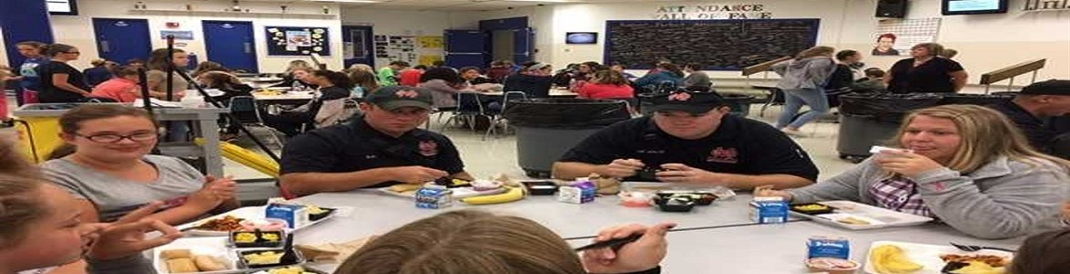 Achiever students having lunch with Mason County First Responders.  Sept. 2017