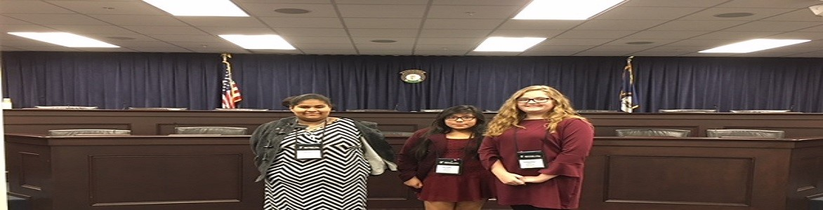 MCMS Y-Club students in Frankfort at the Kentucky Youth Assembly 2017 Emily Mercado, Brenda Garcia and Samantha White