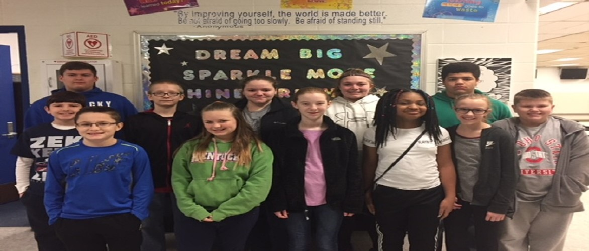 Congratulations to the January Leaders of the Month 2018 6th grade:  Lindsey Dotson, Casey Magee, Ashaylin Rascoe, Nathan Gray 7th grade: Atlanta Fite, Austin Moreland, Madison Roush, Jacob Frye 8th grade: Emily Wood, Dravin Routt, Kailey Hasson, Shephard Daulton